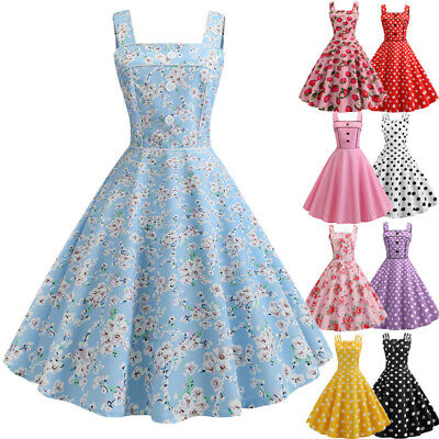 Frauen Rockabilly Petticoat Retro Schlinge Hepburn Party Kleider Cosplay Kostüm