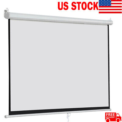 2PCS 120 Inch 16:9 Home Movie Manual Projection Screen Pull Down Projector Matte