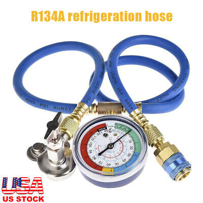 R134A Car AC Refrigerant Charge Hose Kit and Gauge AC Recharge Measuring Kit US R134a Charging Hose