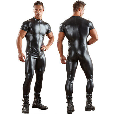 Men's Wetlook Leather Zipper Bodysuit Jumpsuit Singlet Lingerie Latex (Latex Underwear)