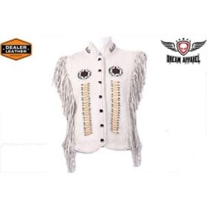 Womens Leather Snap Up Vest With Bones & Beads
