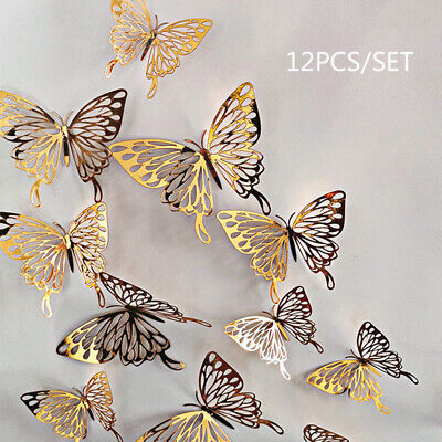 Home Wall Decals (12Pcs 3D Butterfly Wall Decals Stickers Decorations 3D Hollow-Out Home)