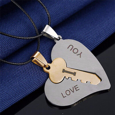 I Love You Couple Lover With Key Heart Stainless Steel Pendant Necklace Fy