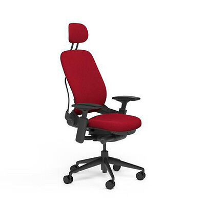 Steelcase Adjustable Leap Desk Chair Headrest Rouge Red Buzz2 Fabric Black Frame