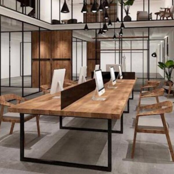 E 011 PO- Solid Wood Dining Table
