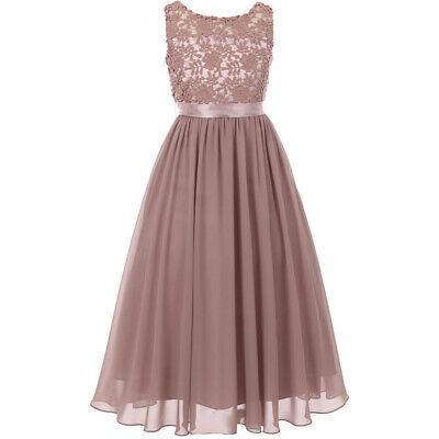 Elegant Dusty Rose Sleeveless Lace Bodice Chiffon Skirt Formal Maxi Girl Dresses Bodice Chiffon Skirt
