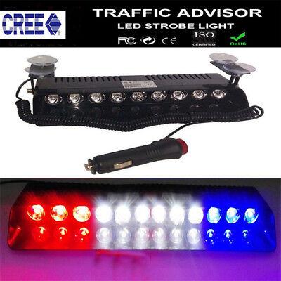 12 LED New Car Lights Bar Emergency Strobe Warning Flash Lamp Visor Deck Dash