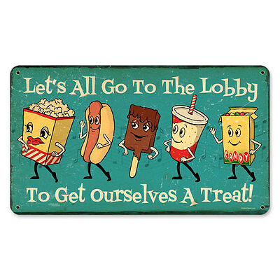 "Cute Vintage Style Let's All Go To The Lobby Snacks Steel Metal Sign 14"" x 8"""