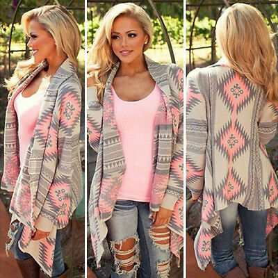 - Fashion Womens Long Sleeve Knitted Cardigan Boho Sweater Poncho Outwear Coat Top