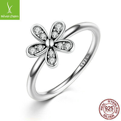 S Authentic 925 Sterling Silver Ring Dazzling Daisy With Zircon Fit Lady Jewelry