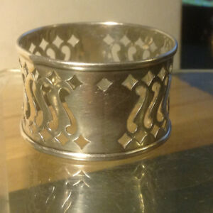 Antique Sterling Silver Filigree Napkin Ring No Monogrammed