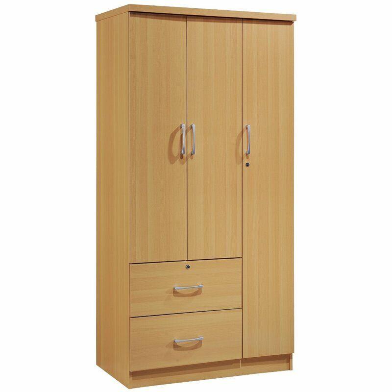 Hodedah 3 Door Armoire with 2 Drawers 3 Shelves in Beech