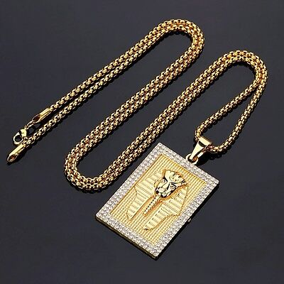 14k Gold Pharaoh Iced Out Dog Tag Pendant 30