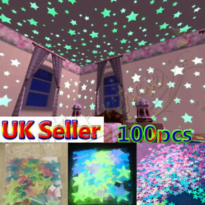 100x Star Wall Ceiling Glow In The Dark Stickers Kids Bedroom Girls Room Decor