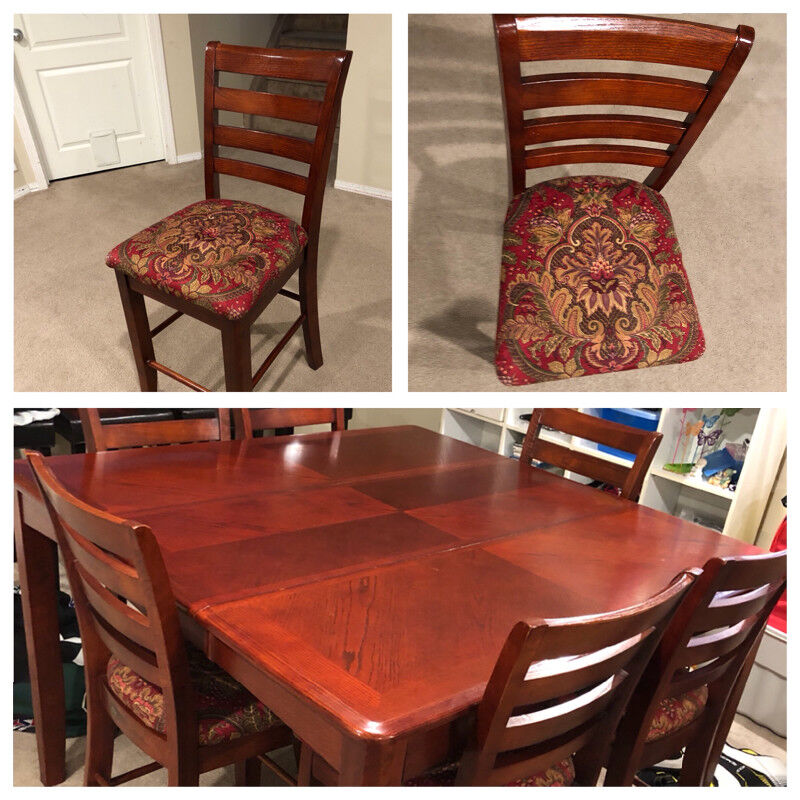 9 Pc Cherry Finish Counter Height 54 Square Dining Table Set