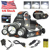 BORUIT 50W 13000LM 3X XM-L2 LED Headlamp Head Light Torch USB Lamp+18650+Charger
