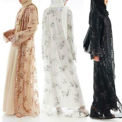 LONG SEQUIN LACE NET MAXI CARDIGAN OPEN ABAYA JACKET KIMONO UK SELLER