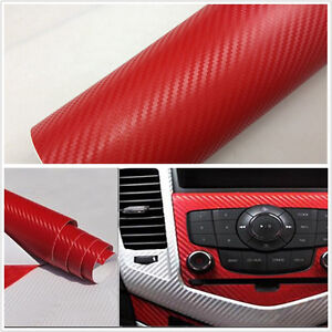 auto interior handle console 3d red carbon fiber wrap vinyl film decal sticker ebay. Black Bedroom Furniture Sets. Home Design Ideas