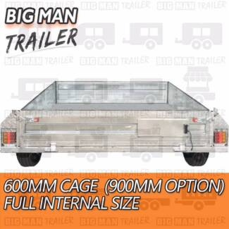 8x5 NO CAGE ✉ BRAKED Trailer 300mm Side CHECKERPLATE Galvanised
