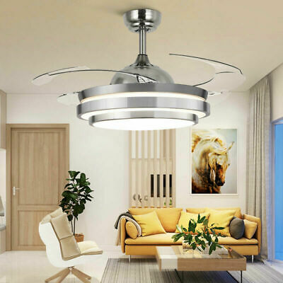 """42"""" Retractable Ceiling Fan Lamp Dimmable LED Chandelier Light W/ Remote Summer"""