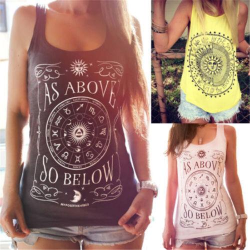 Womens Tank Tops Dreamcatcher Printed Vest Summer Scoop Neck Sleeveless T-Shirt Tee Blouses Transer
