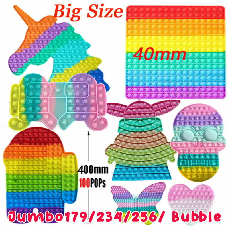 Big Size Jumbo Rainbow Popit Bubble Silicone Sensory Fidget Toy Stress Relief US