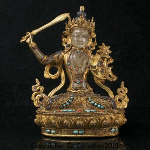 "8.8"" Old Tibet Nepal Copper 24k Gold Gilt Crystal Wenshu Manjushri Buddha Statue"
