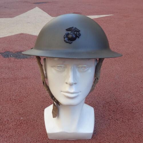 US WW1 M1917 Steel Helmet Marine Corps USMC Eagle Badge