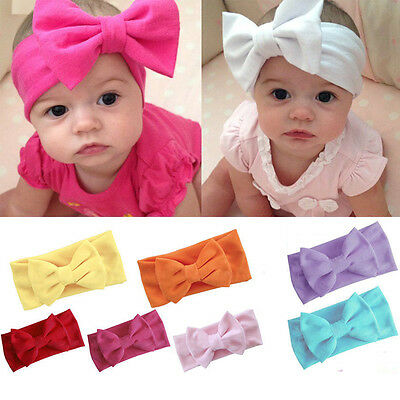 Toddler Girl Baby Kids Big Bow Headband Hairband Stretch Turban Knot Head Wrap U
