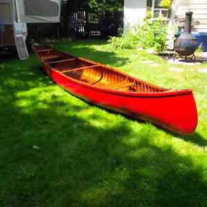 Rare 16' Peterborough Trout Square Stern Cedar Strip Canoe