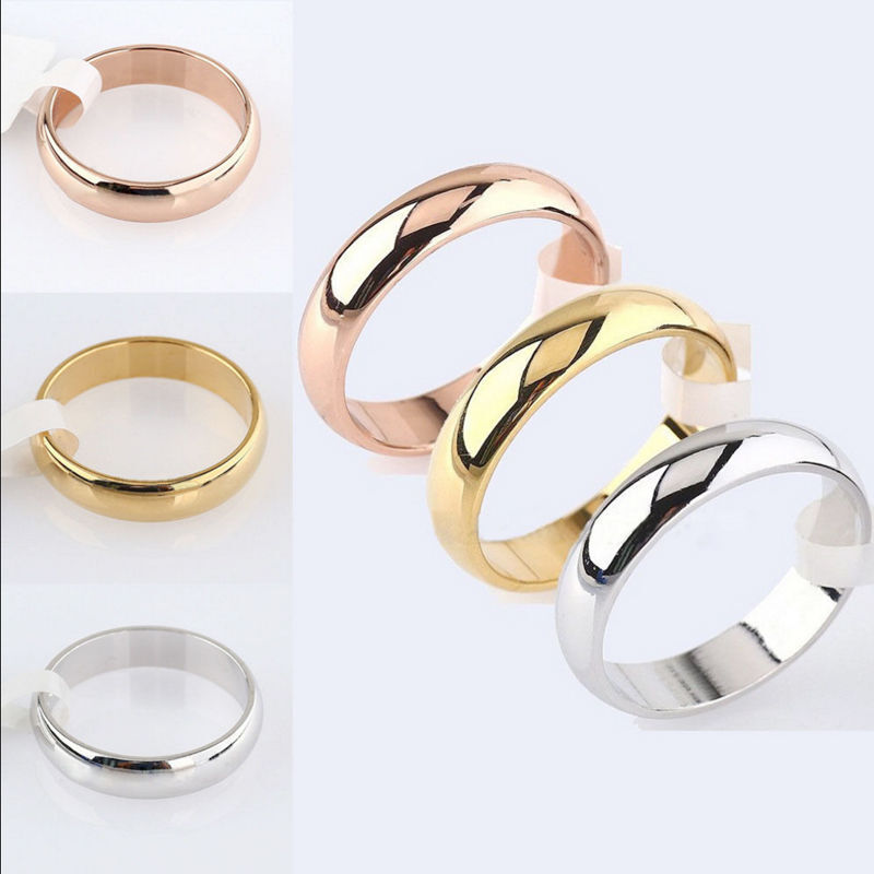 Size 5-12 Band Ring Polished Wedding Women Stainless Steel Engagement Party 4mm Fashion Jewellery