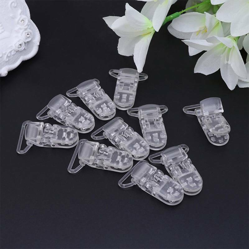 10 Clear Baby Suspender Pacifier Dummy Soother Chain Holder Clip 25mm Ribbon