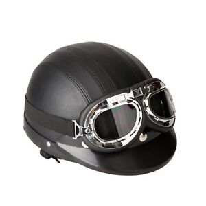 Motorcycle Scooter Open Face Half Leather Helmet with Visor UV G