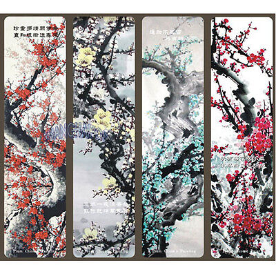 4 X Plum Blossom Bookmark Card Flower Chinese Painting Art Stationery Ornament