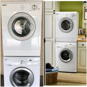 White apartment size compact whirlpool washer and dryer