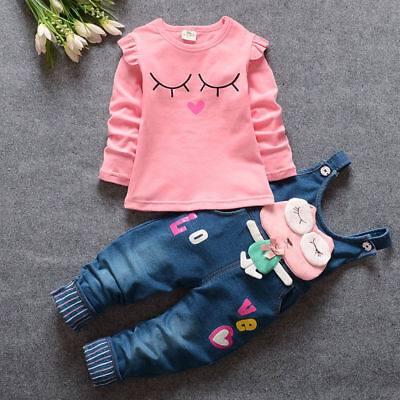 Baby Girls Cartoon Outfits Toddler Clothing Sets For Kids Girls Tops+Bib Jeans