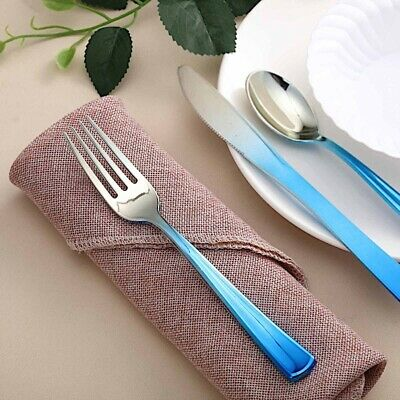 24 SILVER BLUE Ombre Designer Disposable Plastic Forks Party Catering Tableware](Blue Plastic Forks)