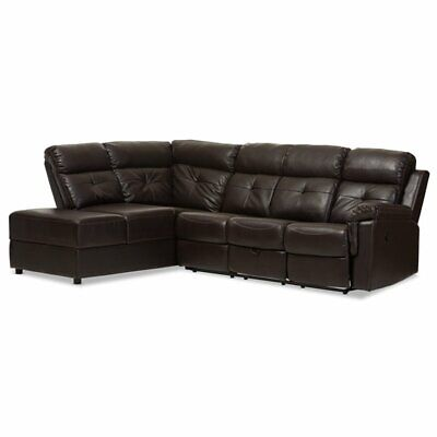 Baxton Studio Roland 2 Piece Faux Leather Reclining Sectiona