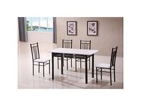 New Black & White Kitchen Dining Table and 4 Chairs 5 Piece