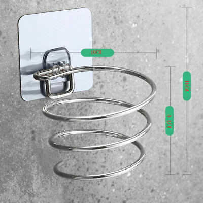 Stainless Steel Wall Mount Hair Dryer Holder Rack Hair Drier Comb Organizer FGU