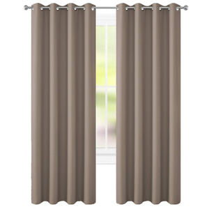 "Taupe Curtains 52""x84"" Pair New by Floweroom Blackout Collection"