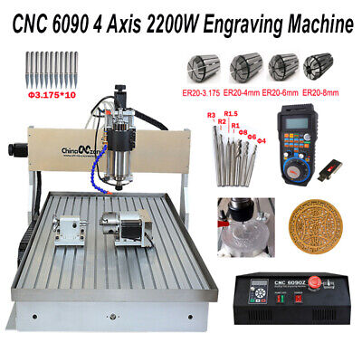 2.2kw Cnc Router Milling Engraving Machine 6090 4-axis Cutting Handwheel Sink