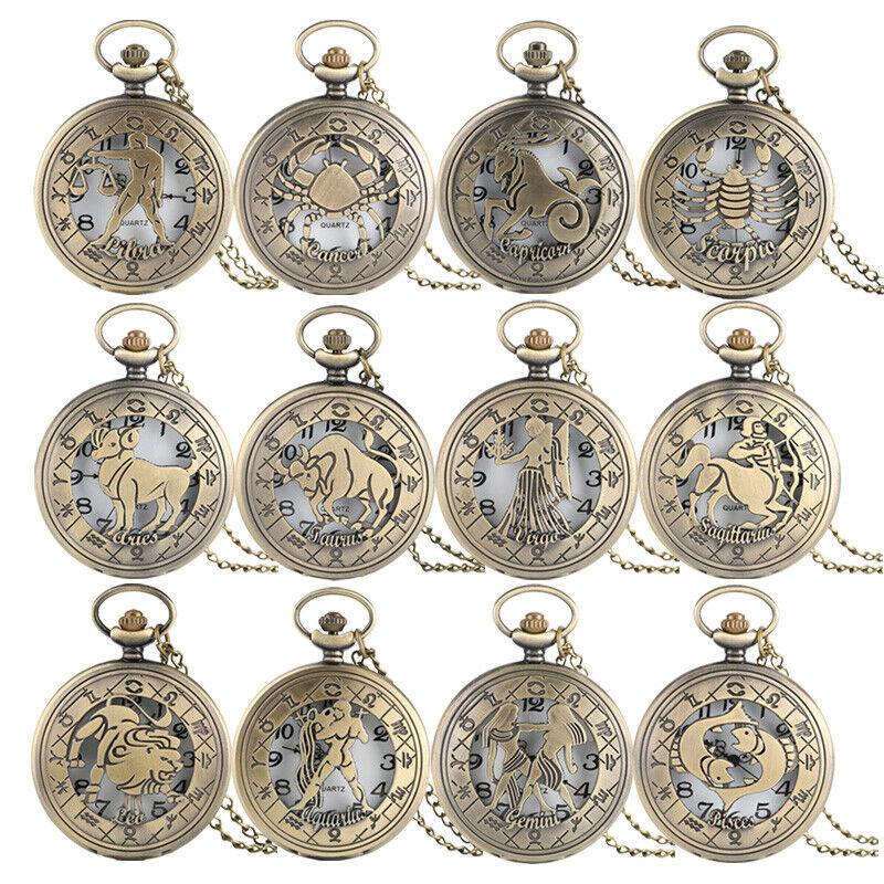 Vintage Zodiac Steampunk Pocket Watch Retro Twelve Constellations with Necklace
