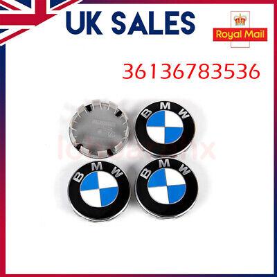For BMW E90 Z4 1 3 5 7 Series Alloy Wheel Centre Caps x4 Blue/White 36136783536