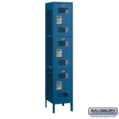 Extra Wide Vented Metal Locker Triple Tier 1 Wide 6 Feet High 18 Deep Blue New