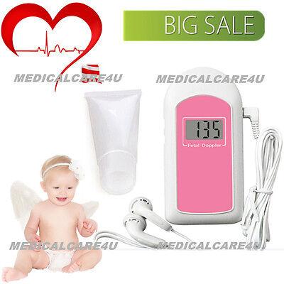 Ultrasonic Fetal Doppler Handheld Baby Sound B Heart Rate Monitor Lcd With Gel