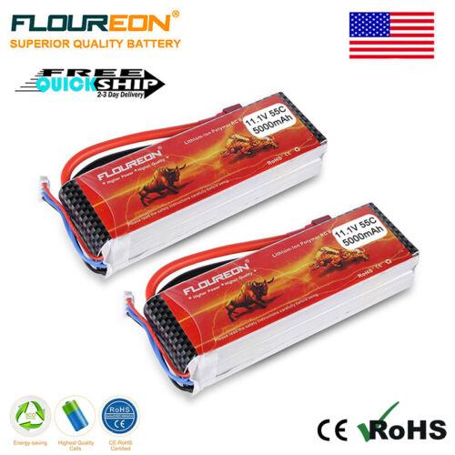 2X Floureon 11.1V 5000mAh 3S 55C Lipo RC Battery Deans Plug