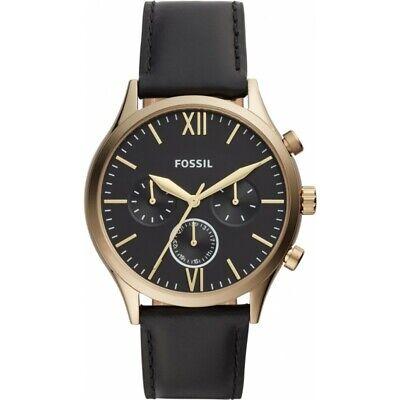 Fossil Herrenuhr Armbanduhr BQ2410 Chronograph schwarz Lederarmband (Fossil Schwarz Leder Uhr)