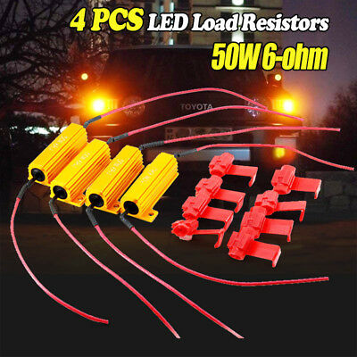 4PCS 50W Load Resistor 6 ohm Fix LED Bulb Fast Hyper Flash Turn Signal Blinker