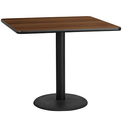 42 Square Walnut Laminate Table Top With 24 Round Table Height Base